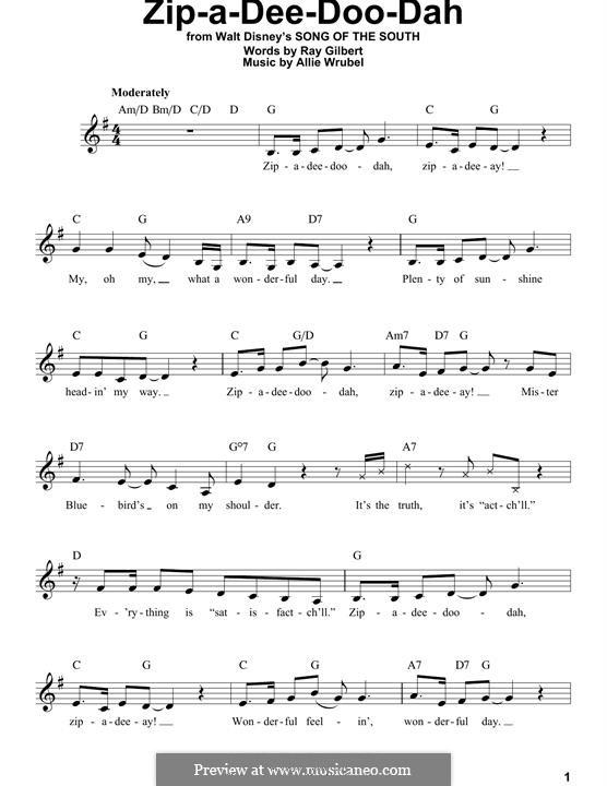 Zip-A-Dee-Doo-Dah: Melody line by Allie Wrubel