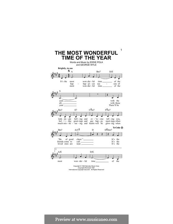 The Most Wonderful Time of the Year: Melody line by George Wyle, Edward Pola