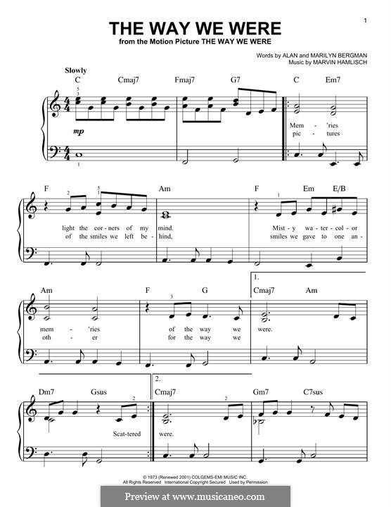 The Way We Were (Barbra Streisand): For piano by Marvin Hamlisch