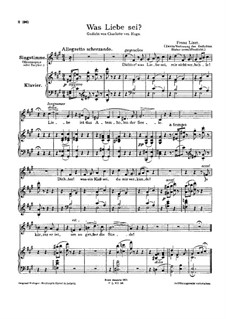 Was Liebe sei, S.288: Version II by Franz Liszt