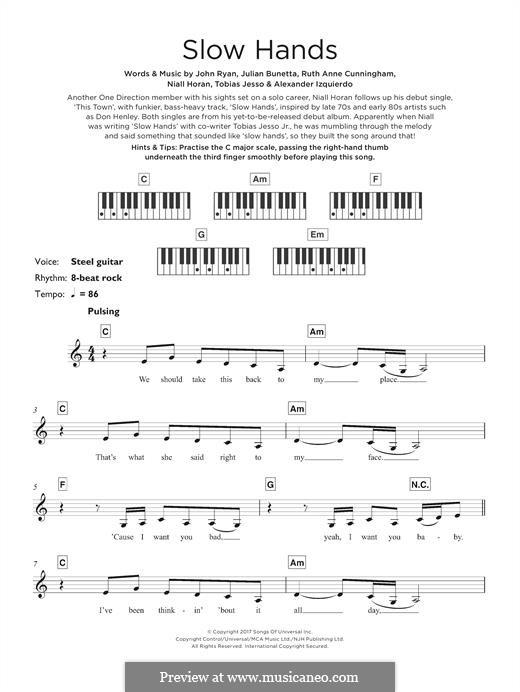 Slow Hands: For keyboard by Julian Bunetta, Ruth Anne Cunningham, Niall Horan, John Henry Ryan, Tobias Jesso, Alexander Izquierdo