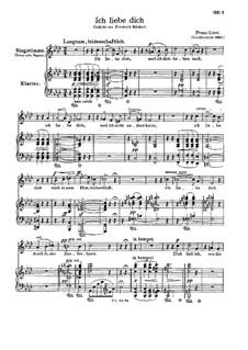 Ich liebe dich, S.315: Deutscher Text by Franz Liszt