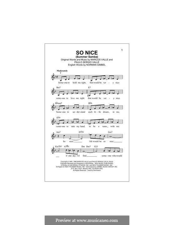 So Nice (Summer Samba): Melody line by Marcos Valle, Paulo Sergio Valle