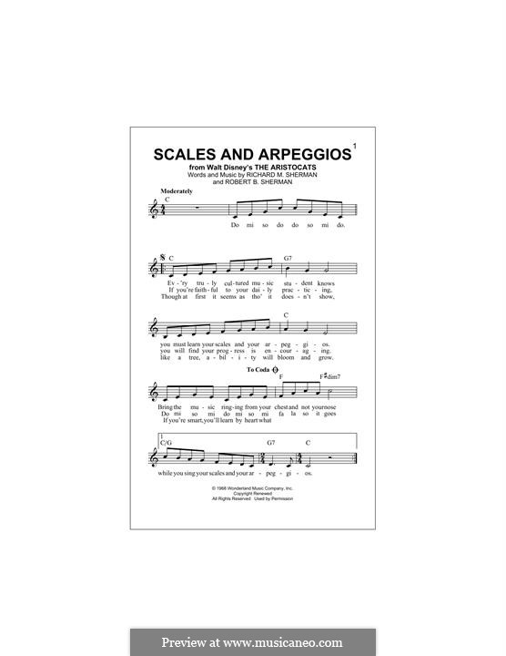 Scales and Arpeggios: Melody line by Richard M. Sherman, Robert B. Sherman