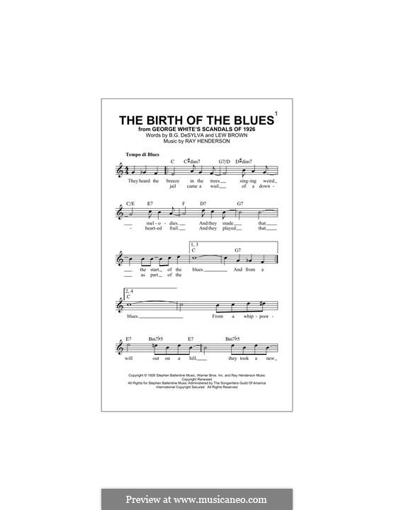 The Birth of the Blues (Frank Sinatra): Melody line by Buddy Gard DeSylva, Ray Henderson, Lew Brown