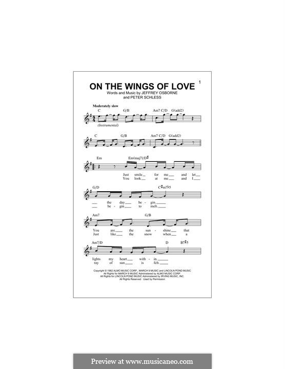On the Wings of Love: Melody line by Peter Schless