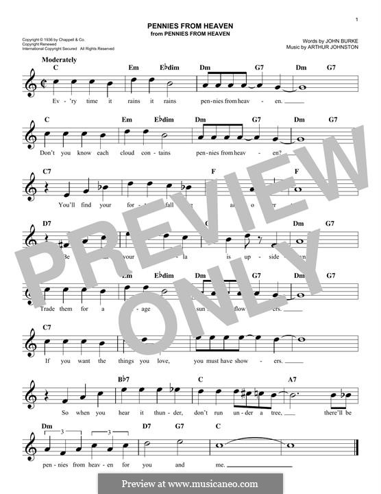 Pennies from Heaven (Bing Crosby): Melody line by Arthur Johnston