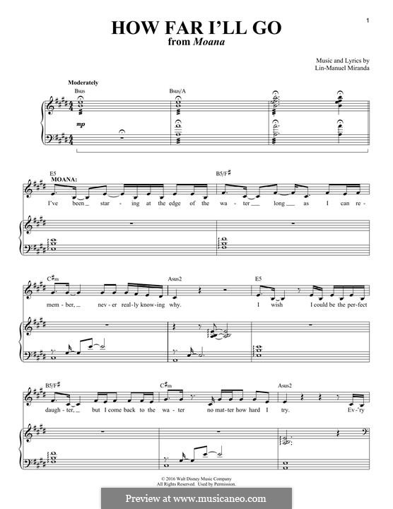 How Far I'll Go (Alessia Cara): For voice and piano by Lin-Manuel Miranda