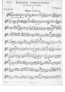 Concert Sonata for Guitar and Violin: Violin part by Niccolò Paganini