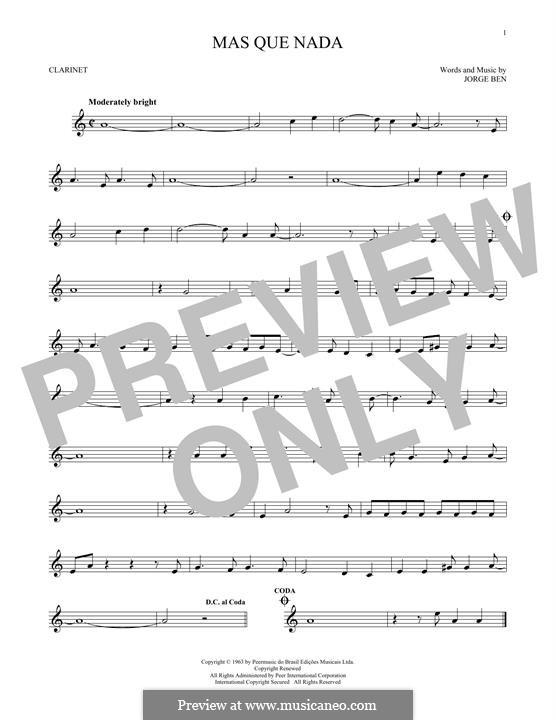 Mas Que Nada (Say No More): For clarinet by Jorge Ben