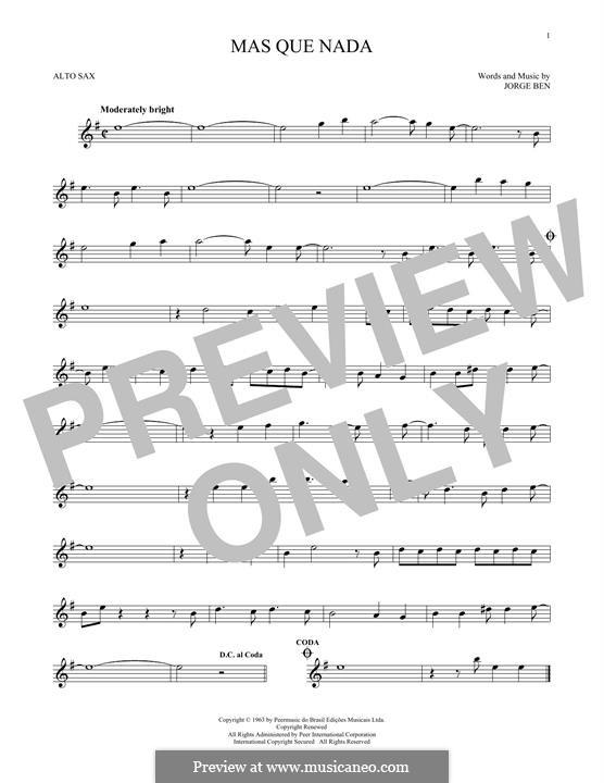 Mas Que Nada (Say No More): For alto saxophone by Jorge Ben