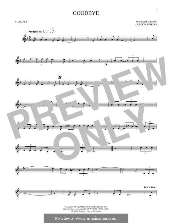 Goodbye (Bill Evans): For clarinet by Gordon Jenkins