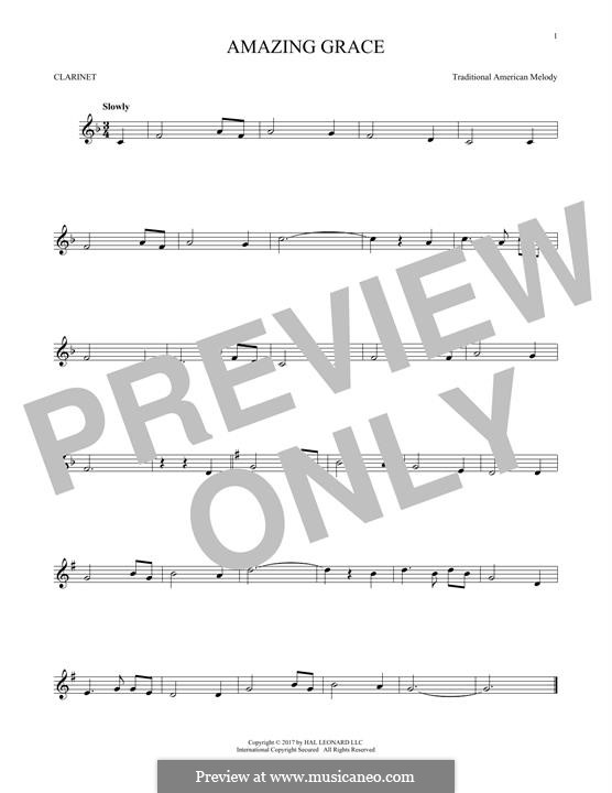 Amazing Grace (Printable Scores): For clarinet by folklore