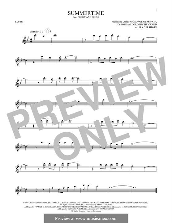Summertime: For flute by George Gershwin