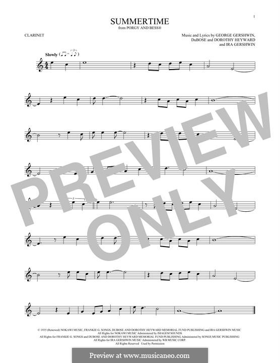 Summertime: For clarinet by George Gershwin