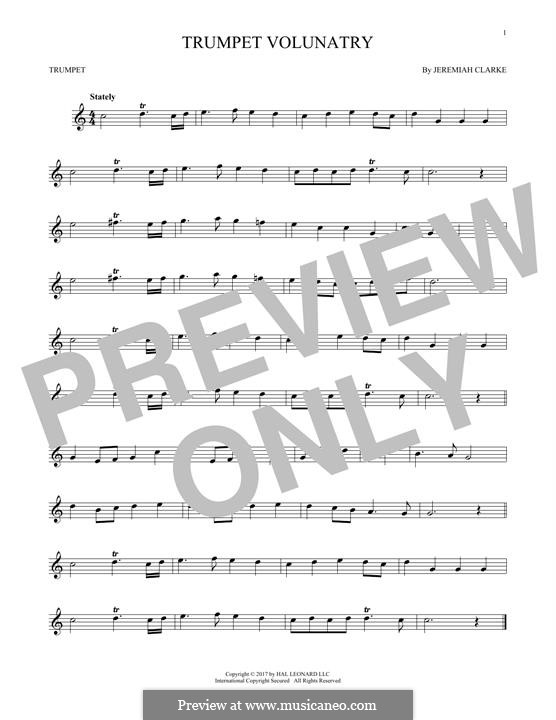 Prince of Denmark's March (Trumpet Voluntary), printable scores: For trumpet by Jeremiah Clarke