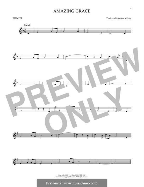 Amazing Grace (Printable Scores): For trumpet by folklore