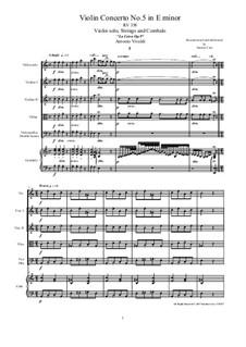 La Cetra (The Lyre). Twelve Violin Concertos, Op.9: No.5 Concerto in A Minor – score and all parts, RV 358 by Antonio Vivaldi