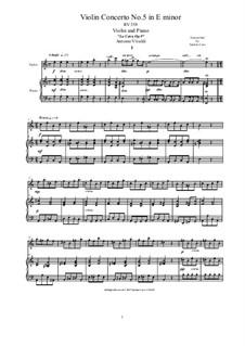 La Cetra (The Lyre). Twelve Violin Concertos, Op.9: No.5 Concerto in A Minor, for violin and piano, RV 358 by Antonio Vivaldi