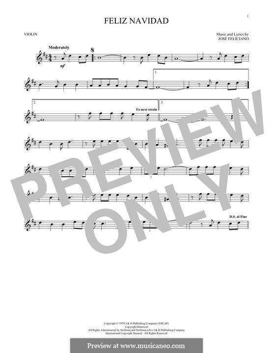 Feliz Navidad: For violin by José Feliciano