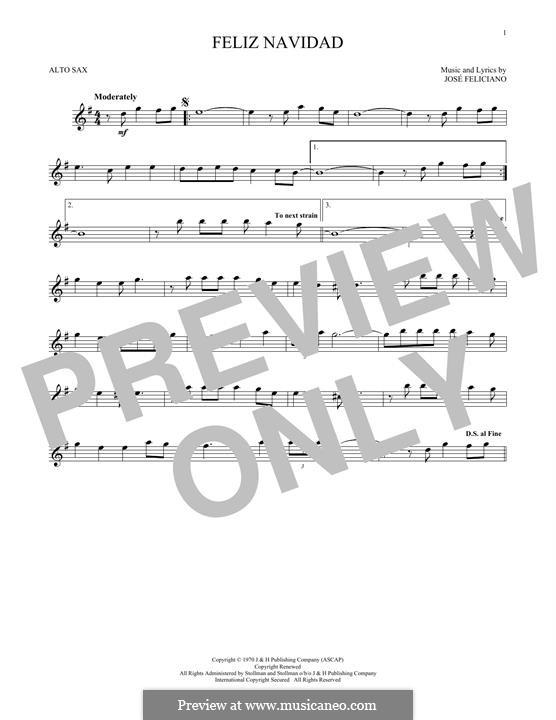 Feliz Navidad: For alto saxophone by José Feliciano