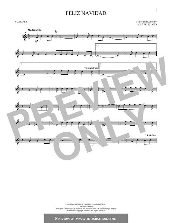 Feliz Navidad: For clarinet by José Feliciano