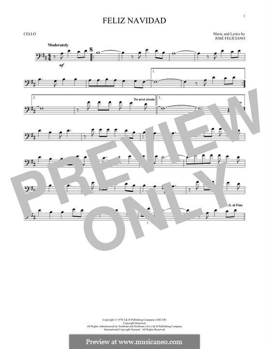 Feliz Navidad: For cello by José Feliciano