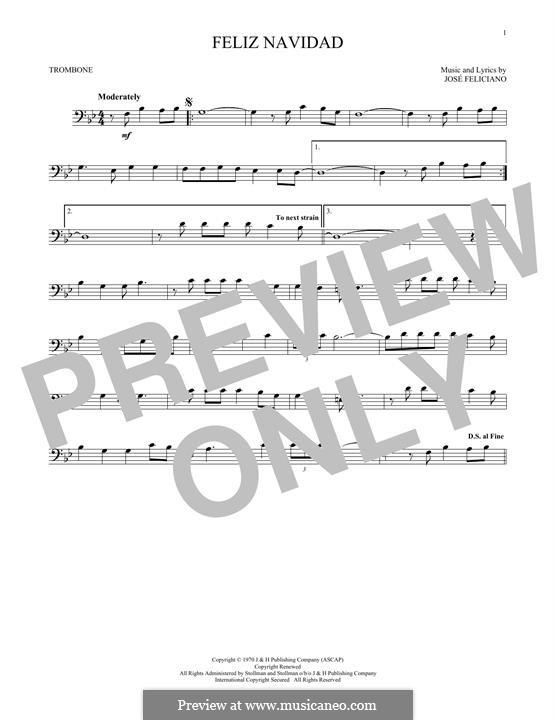 Feliz Navidad: For trombone by José Feliciano