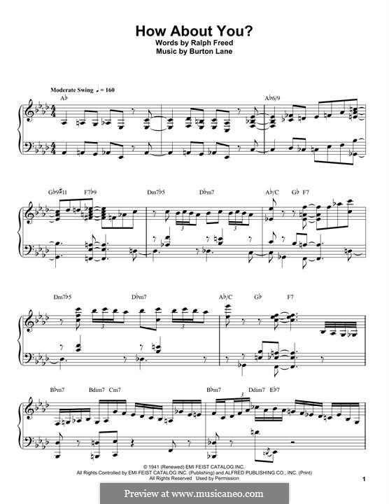 How About You? (from Babes on Broadway): For piano (Oscar Peterson) by Burton Lane, Ralph Freed