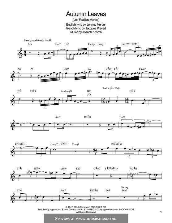 Autumn Leaves (Les Feuilles Mortes): For clarinet by Joseph Kosma