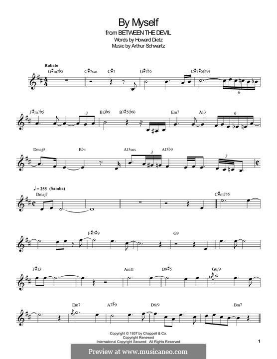 By Myself (Howard Dietz): For clarinet by Arthur Schwartz