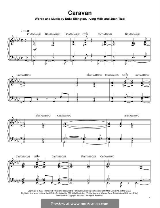 Caravan (Les Paul): For piano by Irving Mills, Duke Ellington, Juan Tizol