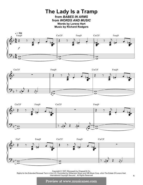 The Lady is a Tramp (Frank Sinatra): For piano (Oscar Peterson) by Richard Rodgers