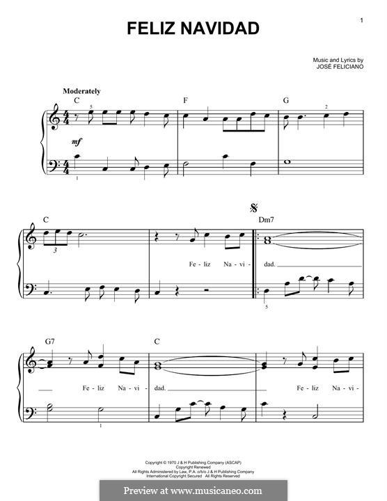 Feliz Navidad: For piano by José Feliciano