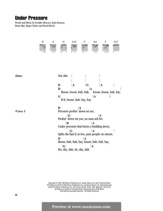 Under Pressure (David Bowie & Queen): Lyrics and chords by Brian May, David Bowie, Freddie Mercury, John Deacon, Roger Taylor