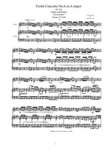 La Cetra (The Lyre). Twelve Violin Concertos, Op.9: No.6 Concerto in A Major, for violin and piano, RV 348 by Antonio Vivaldi