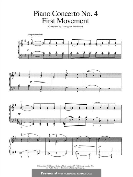 Fragments: Movement I (Theme). Version for piano by Ludwig van Beethoven
