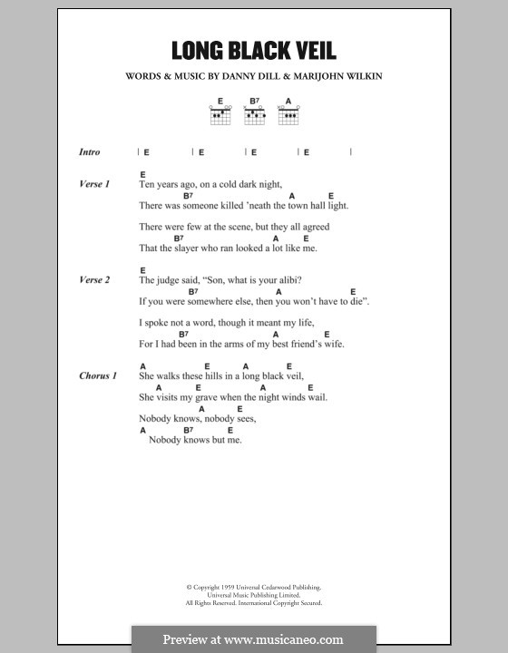 The Long Black Veil By D Dill M Wilkin Sheet Music On Musicaneo