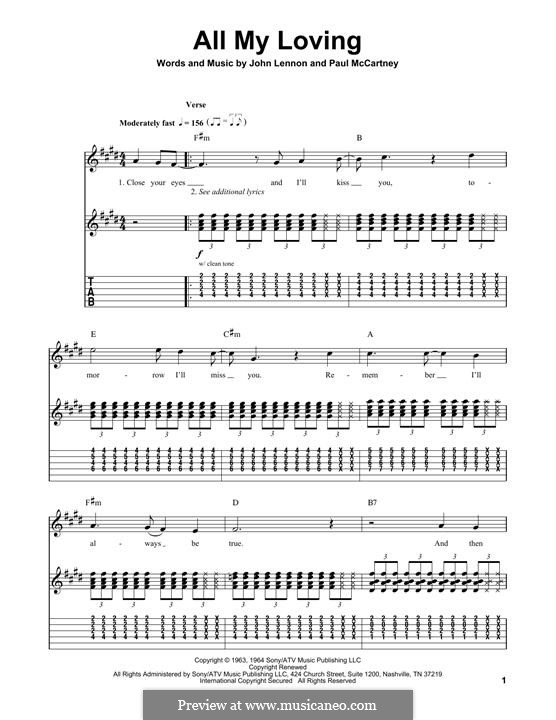 All My Loving (for guitar or piano): For guitar with tab by John Lennon, Paul McCartney