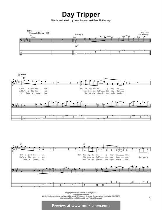 Day Tripper (The Beatles): For bass guitar with tab by John Lennon, Paul McCartney