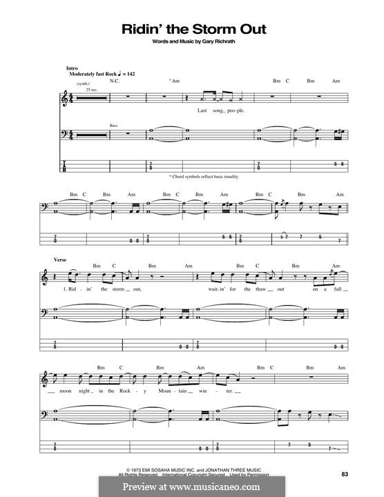 Ridin' the Storm Out (REO Speedwagon): For bass guitar with tab by Gary Richrath