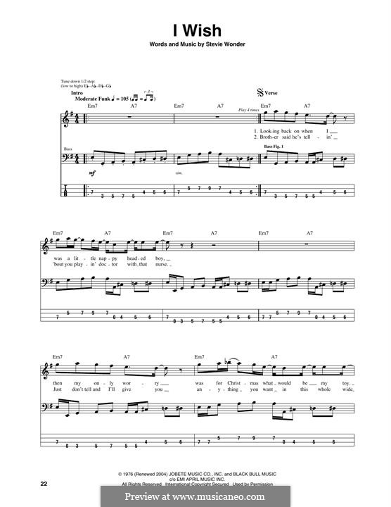 I Wish: For bass guitar with tab by Stevie Wonder