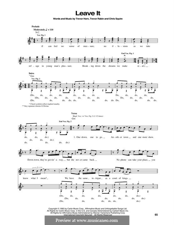 Leave It (Yes): For bass guitar with tab by Chris Squire, Trevor Horn, Trevor Rabin