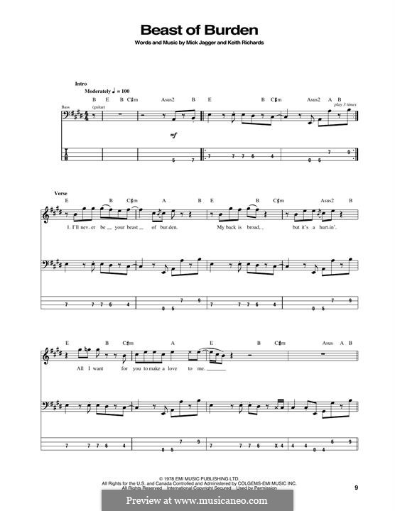 Beast of Burden (The Rolling Stones): For bass guitar with tab by Keith Richards, Mick Jagger