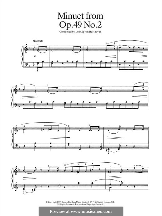 Sonata for Piano No.20, Op.49 No.2: Minuet, for piano by Ludwig van Beethoven