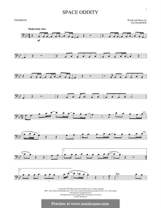 Space Oddity: For trombone by David Bowie