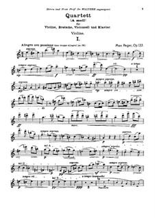 Piano Quartet No.2 in A Minor, Op.133: Parts by Max Reger