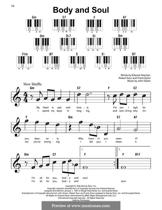 Body and Soul: For piano by John W. Green