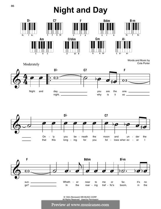 Night and Day (Frank Sinatra): For piano by Cole Porter