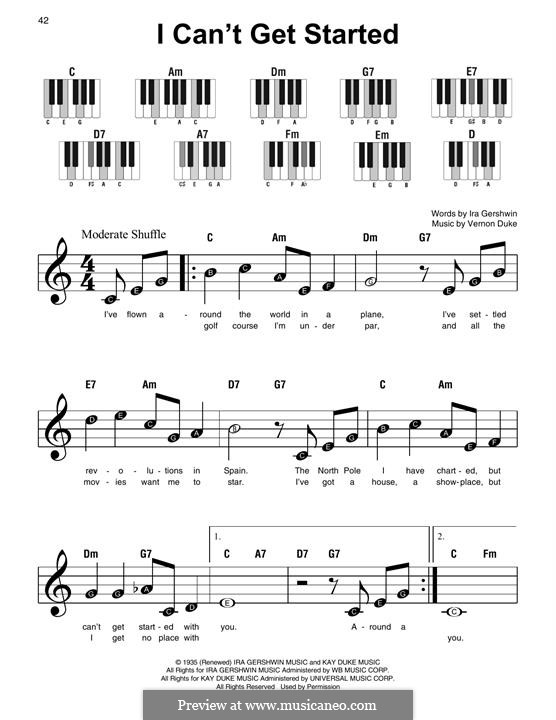 I Can't Get Started with You: For piano by Vernon Duke